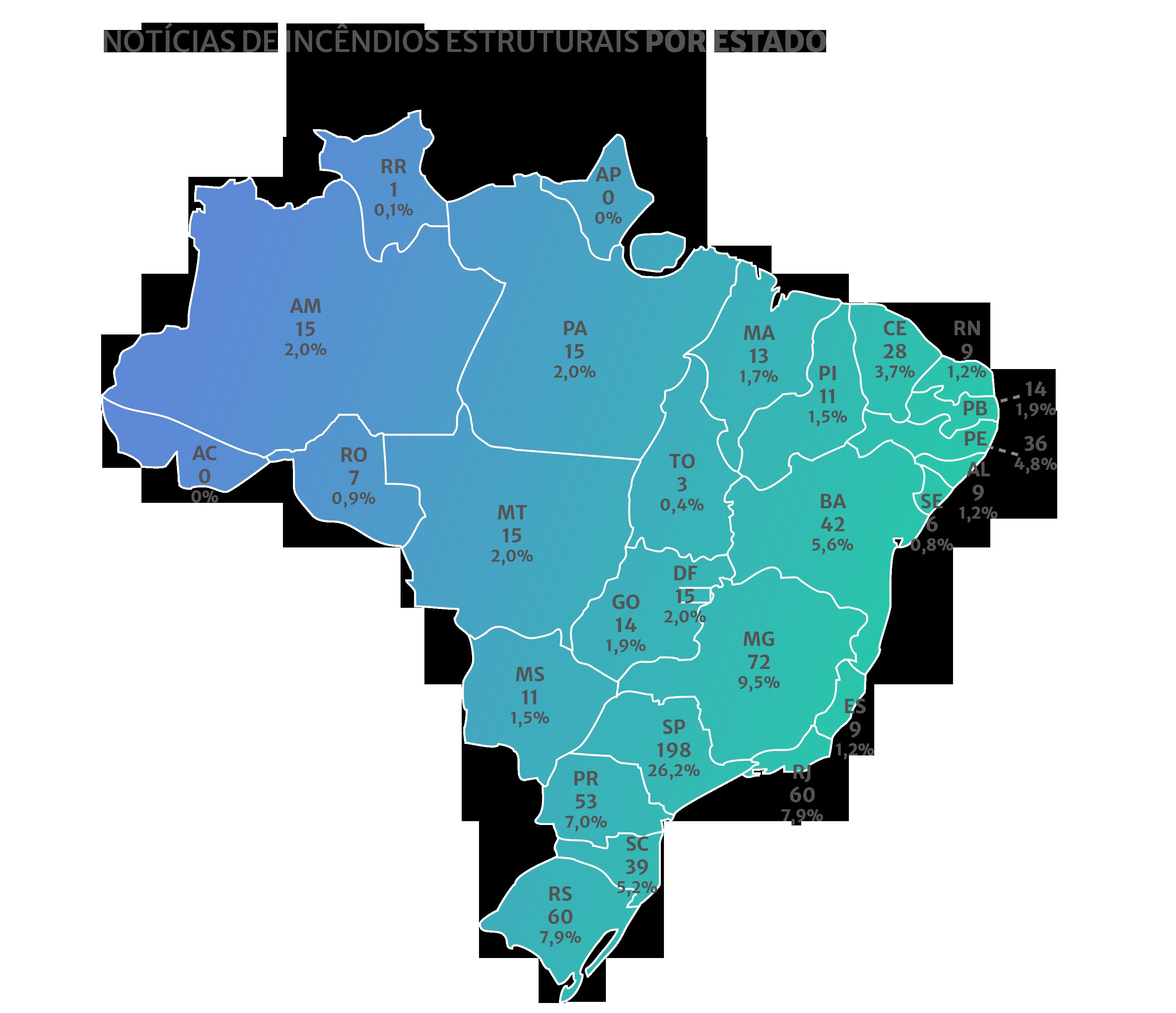 Mapa de notícias sobre incê